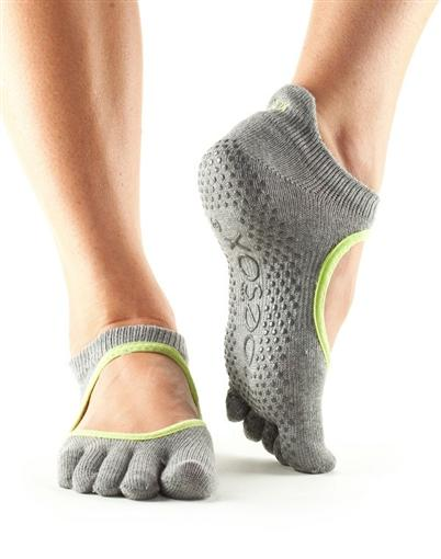 Full Toe Bellarina Grip - heather grey with lime